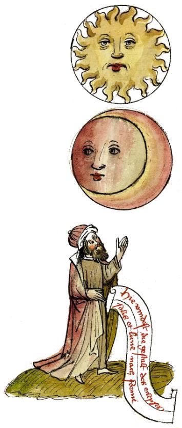 minatura z 15 w. przedatwiająca Słońce i pod nim Księżyc