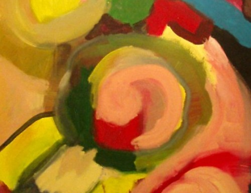 Oil on Canvas (Diploma. Pink Twirls, Yellow)